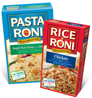 Pasta Roni and Rice-A-Roni products next to each other