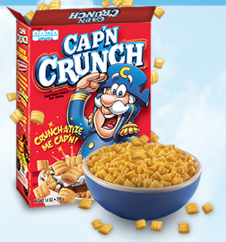 A Cap'N Crunch cereal-product next to a bowl with the cereal in it
