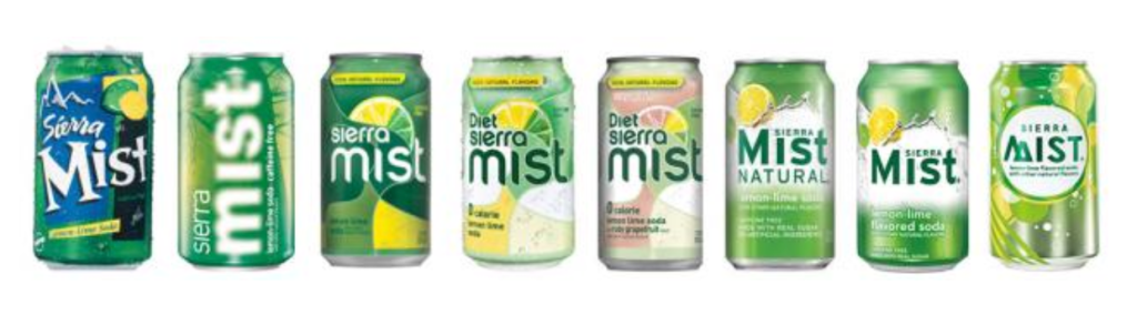 A timeline of how Sierra Mist's branding has evolved throughout the years