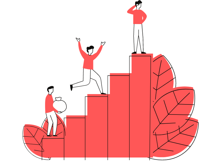 Three people climbing a bar graph representing leadership and management