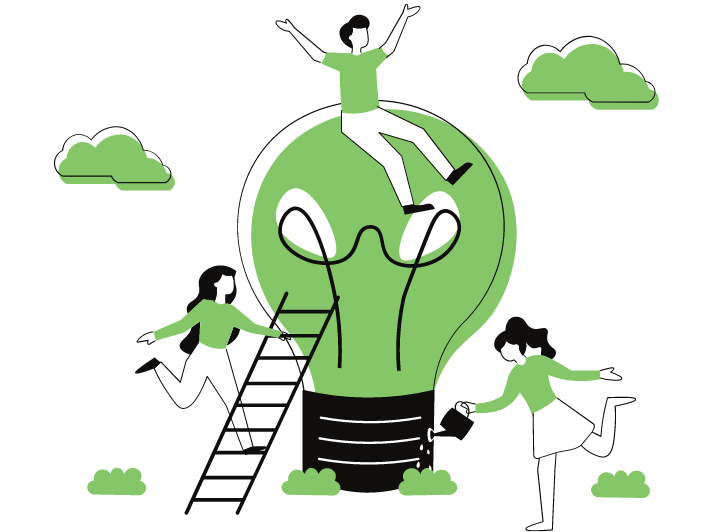A person sitting on top of a lightbulb, another one is climbing towards him with a stairs and another watering the lightbulb to represent sustainability