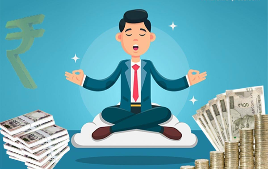An icon of a man meditating while piling on cash to represent that personal wellbeing is key to financial wellbeing