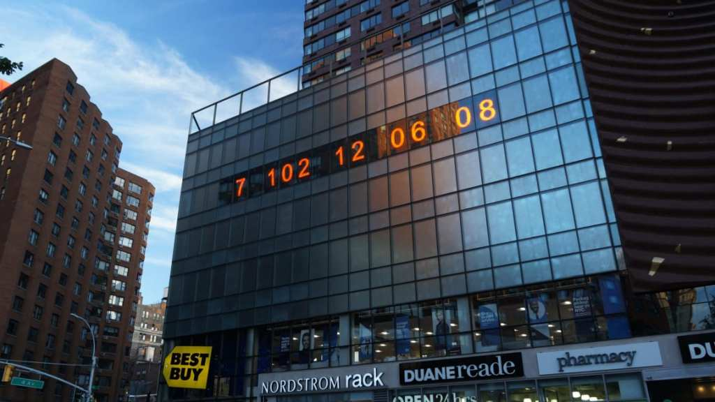 The Metronome in Union Square, which now displays the time left before we burn all the carbon that will push the planet to chaos