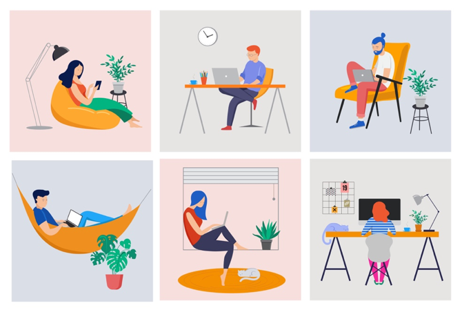 A collage of employees working from home to represente the importance of communication