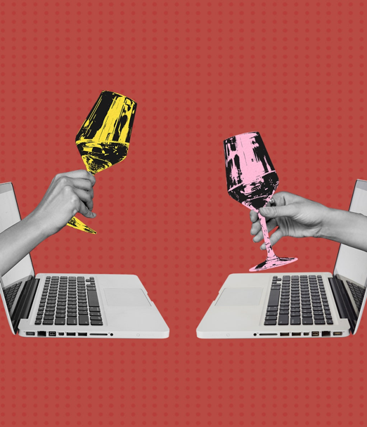 Two hands with a glass of wine coming out of their computers cheering to represent connection when social distancing